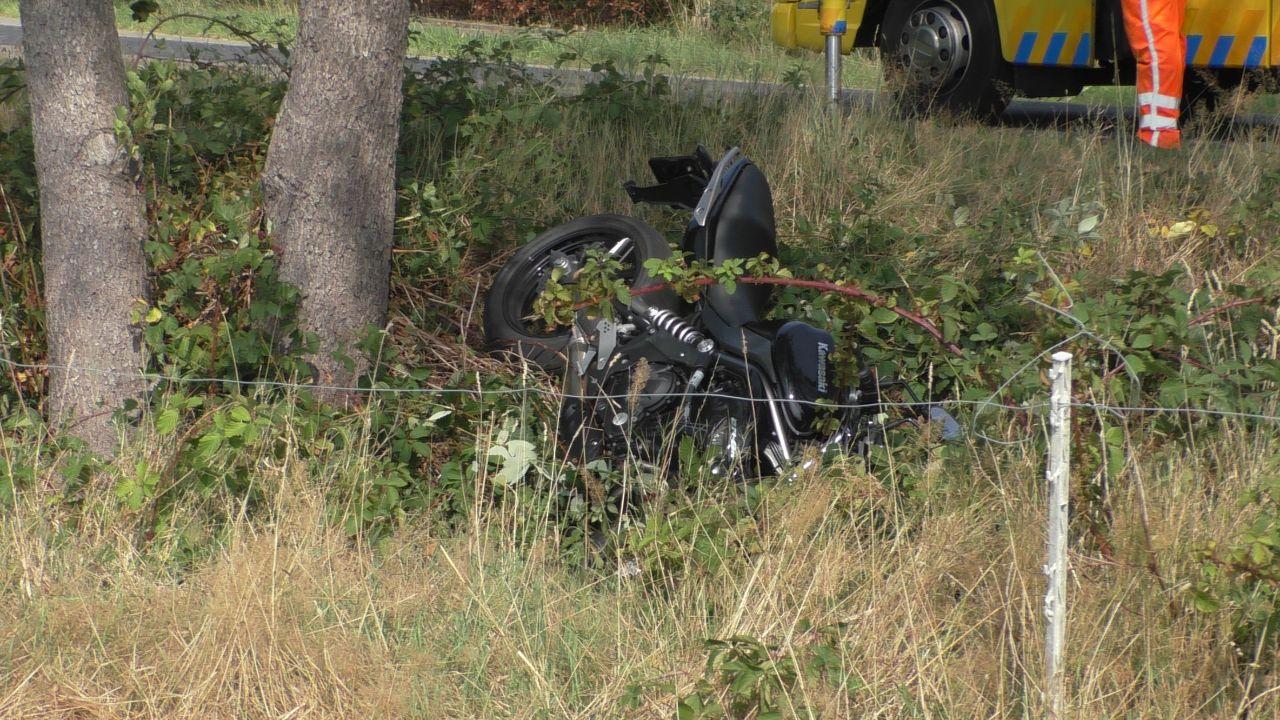 Motorrijder raakte gewond bij een eenzijdig ongeval