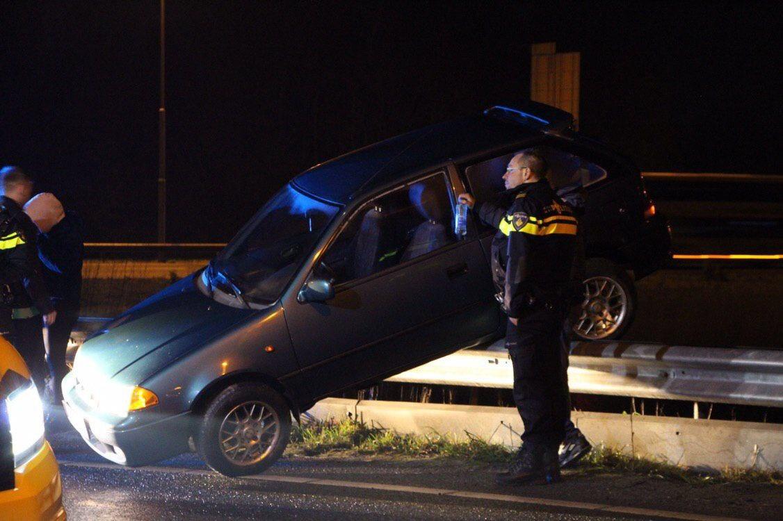 Bestuurder komt op de vangril na eenzijdig ongeval op de A7 Bij Drachten
