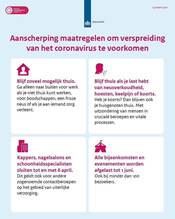 Aangescherpte maatregelen om het coronavirus onder controle te krijgen