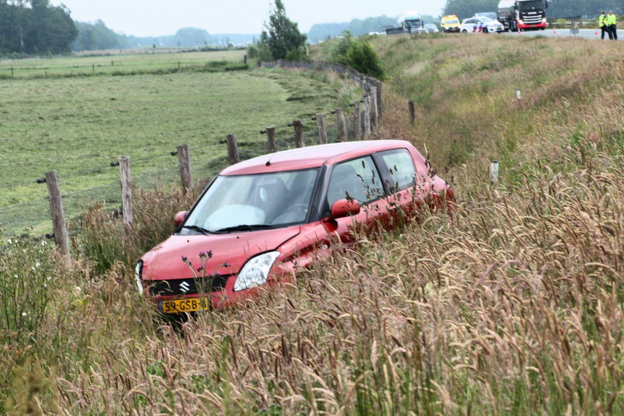 Bestuurder beland in de sloot na Eenzijdig ongeval langs de N381 bij Wijnjewoude